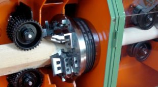 wood pole rounding machine